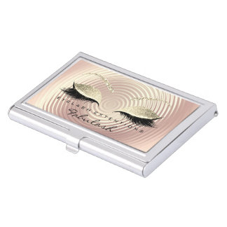 Beauty Lashes Makeup Gold Pink Skin Lux Glitter Business Card Holder