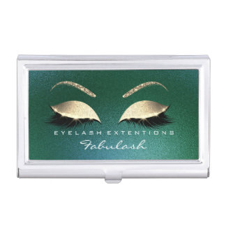 Beauty Lashes Makeup Stylist Cali Greeen Gold Business Card Holder