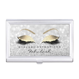 Beauty Lashes Makeup Stylist Rose Gold Gray Glitte Business Card Holder