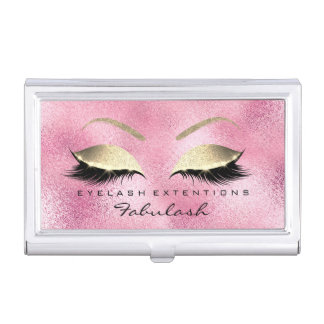 Beauty Lashes Makeup Stylist Rose Gold Pink Glam Business Card Holder