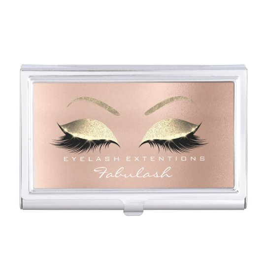 Beauty Lashes Makeup Stylist Rose Gold Pink Glitte Business Card Case