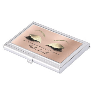 Beauty Lashes Makeup Stylist Rose Gold Pink Skinny Business Card Holder