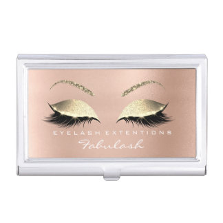 Beauty Lashes Makeup Stylist Rose Gold Pink White Business Card Holder