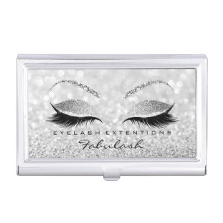 Beauty Lashes Makeup Stylist Silver Gray Glitter1 Business Card Holder