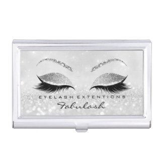 Beauty Lashes Makeup Stylist Silver Gray Glitter2 Business Card Holder