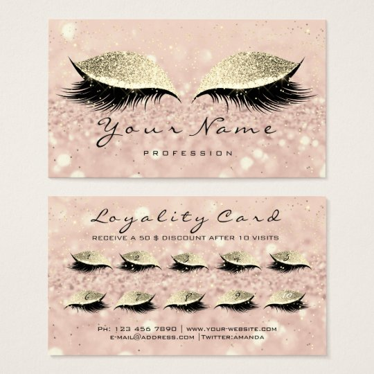 Beauty Loyalty Card 10 Makeup Artist Lashes Gold