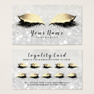 Beauty Loyalty Card 10 Makeup Lashes Gold Grey WOW