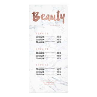 Beauty modern gold typography marble price list rack cards