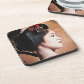 Beauty of Geisha - cool oriental japanese painting Beverage Coasters