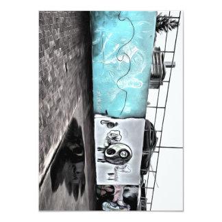 "Beauty of wall graffiti 4.5"" x 6.25"" invitation card"