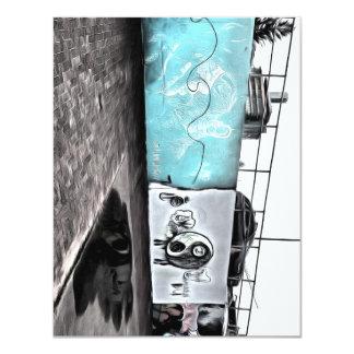 "Beauty of wall graffiti 4.25"" x 5.5"" invitation card"