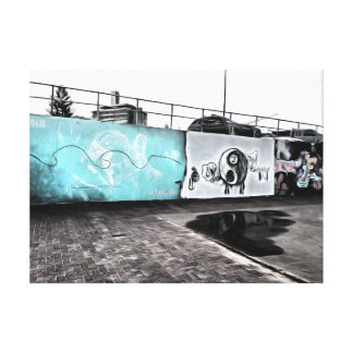 Beauty of wall graffiti stretched canvas print