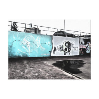Beauty of wall graffiti stretched canvas prints