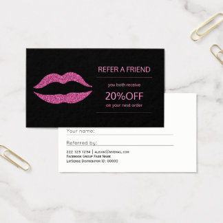 Beauty products distributor pink lips referral business card