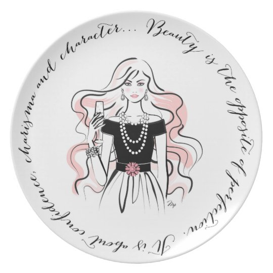 Beauty Quote Girl Plate
