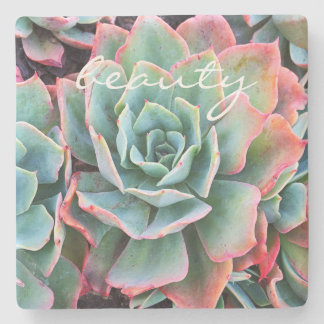"""""""Beauty"""" Quote Mint Green Cactus Close-up Photo Stone Coaster"""