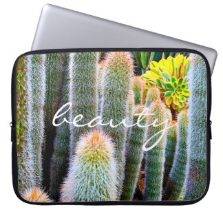 """Beauty"" Quote Orange and Green Fuzzy Cacti Photo Laptop Sleeve"