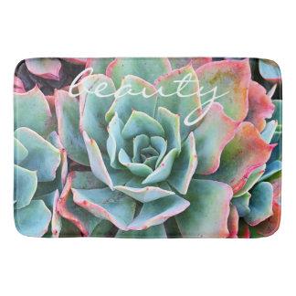 """Beauty"" Quote Pink & Green Cactus Close-up Photo Bath Mat"