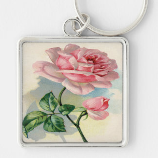 Beauty Rose Pink, Gray Keychain, Large, Premium Silver-Colored Square Keychain