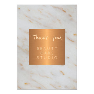 Beauty salon copper metallic grey marble thank you card