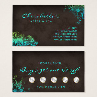 Beauty Salon Floral Loyalty Card Blue Green