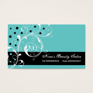 Beauty Salon floral scroll leaf black, turquoise Business Card