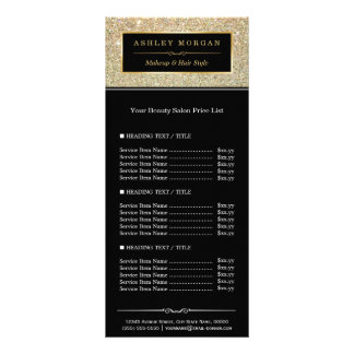 Beauty Salon Funky Gold Glitter Glamour Price List Rack Card Template