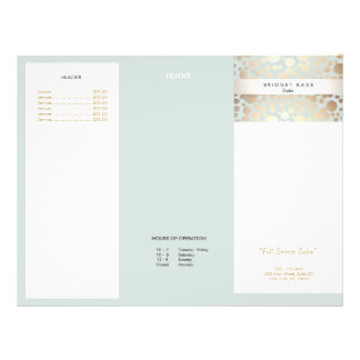 Beauty Salon Gold Light Blue Circle Menu Brochure Full Colour Flyer