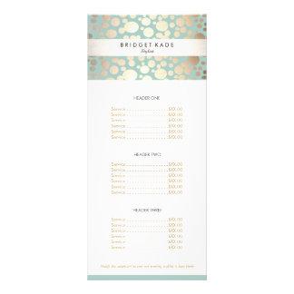 Beauty Salon Gold Turquoise Spotted Pattern Menu Rack Card Design