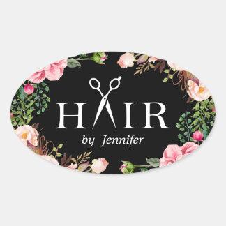 Beauty Salon Hair Cut Scissor Logo Elegant Floral Oval Sticker