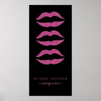 Beauty salon hot pink lips black glam promotional poster