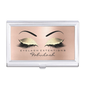 Beauty Salon Lashes Makeup Skinny Pink Gold Glam Business Card Holder