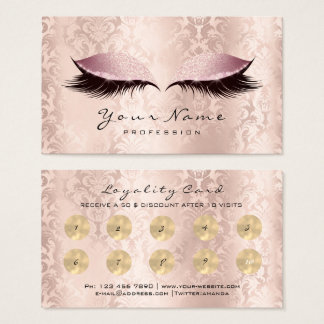Beauty Salon Loyalty Card Makeup Damask Lashes 10