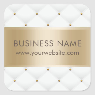 Beauty Salon Luxury Quilted Modern Gold & White Square Sticker