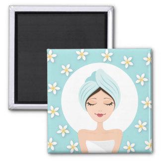 Beauty salon or spa woman wrapped towel aqua blue magnet