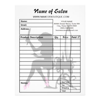Beauty Salon Pink and Black Girly Girl Order Forms Custom Letterhead
