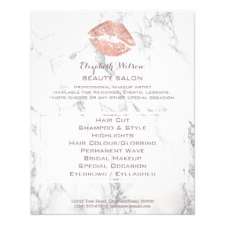 beauty salon rose gold kiss on marble flyer
