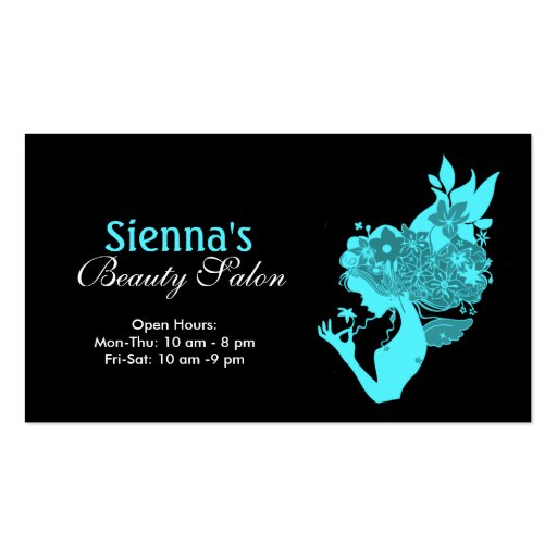 Beauty Salon (Turquoise) Business Card Template