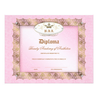 Beauty School Diploma Pink Gold Lace Crown Flyer