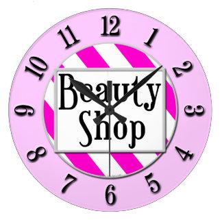 Beauty Shop Pink White Striped Retro Wall Clock