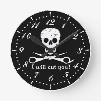 Beauty Shop Pirate_Distressed_White Round Clock