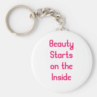 Beauty Starts on the inside Basic Round Button Keychain