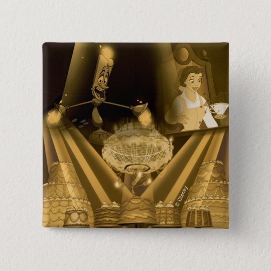 Beauty & The Beast   A Golden Collage 2 Inch Square Button