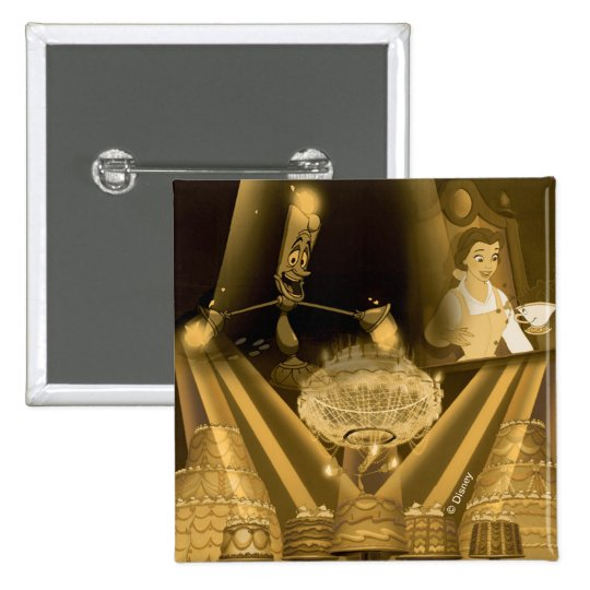 Beauty & The Beast | A Golden Collage 2 Inch Square Button