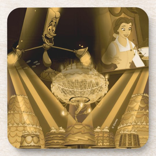 Beauty & The Beast | A Golden Collage Drink Coaster