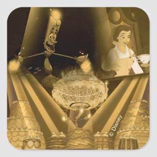 Beauty & The Beast | A Golden Collage Square Sticker