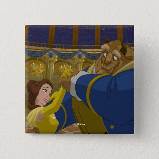 Beauty & The Beast   Belle & The Beast Dancing 2 Inch Square Button