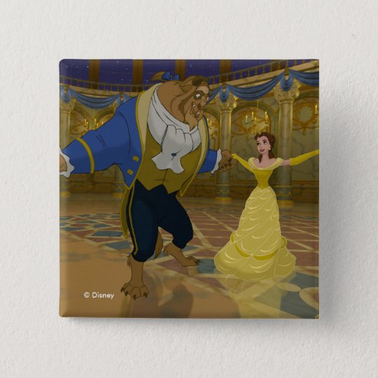 Beauty & The Beast   Dancing in the Ballroom 2 Inch Square Button