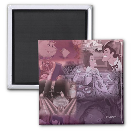 Beauty & The Beast | Pink & Purple Collage Magnet