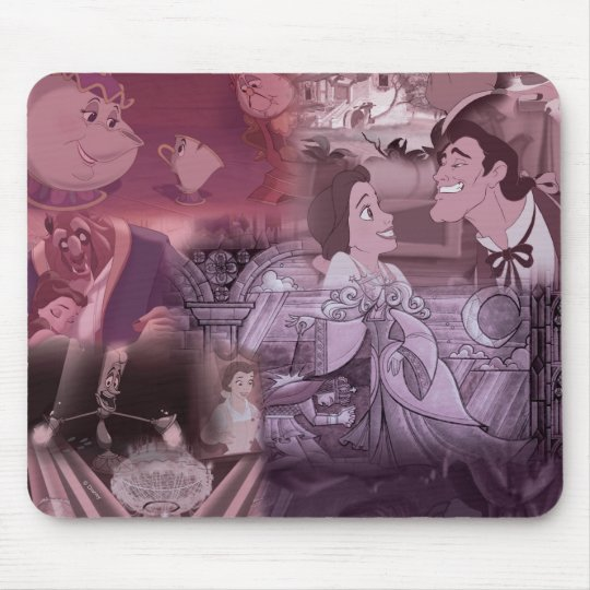 Beauty & The Beast | Pink & Purple Collage Mouse Pad
